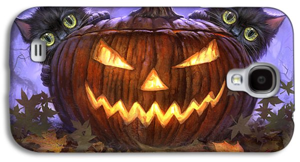 Cats Digital Art Galaxy S4 Cases - Scaredy Cats Galaxy S4 Case by Jeff Haynie