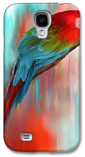 Scarlet- Red And Turquoise Art Galaxy S4 Case by Lourry Legarde
