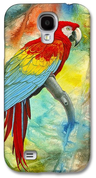 Scarlet Macaw In Abstract Galaxy S4 Case by Paul Krapf