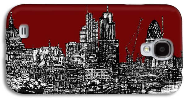 Architecture Framed Prints Galaxy S4 Cases - Scarlet red London skyline Galaxy S4 Case by Lee-Ann Adendorff