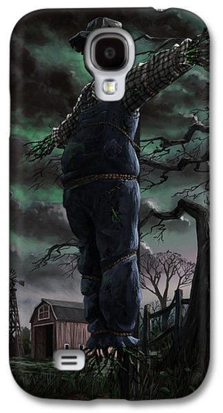 Creepy Digital Art Galaxy S4 Cases - Scary Scarecrow in field Galaxy S4 Case by Martin Davey