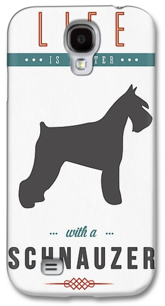 Puppies Mixed Media Galaxy S4 Cases - Schnauzer 01 Galaxy S4 Case by Aged Pixel
