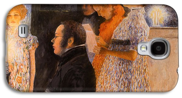 Pointillist Paintings Galaxy S4 Cases - Schubert at the Piano  - after Klimt Galaxy S4 Case by Don Perino