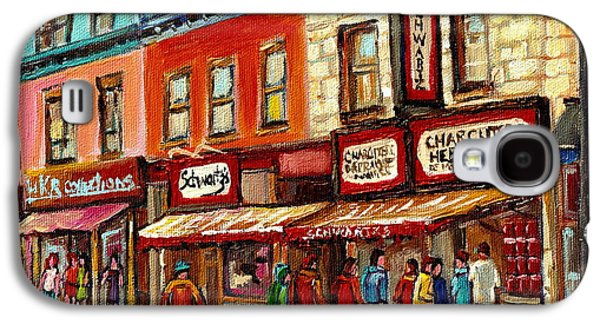 Schwartz The Musical Painting By Carole Spandau Montreal Streetscene Artist Galaxy S4 Case by Carole Spandau