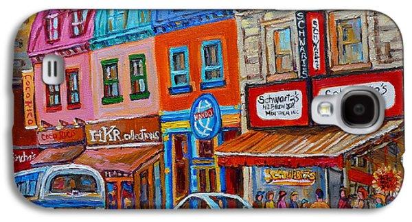 Montreal Streetscenes Paintings Galaxy S4 Cases - Schwartzs Deli Restaurant Montreal Smoked Meat Plateau Mont Royal Streetscene Carole Spandau Galaxy S4 Case by Carole Spandau