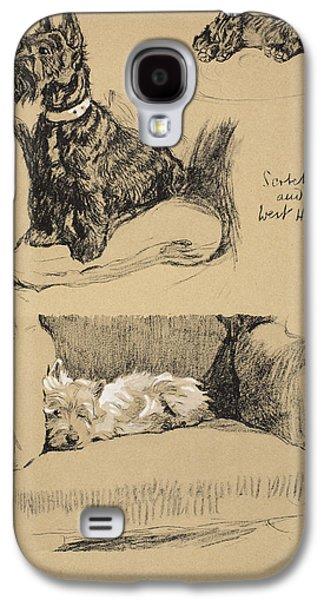 Black Dog Galaxy S4 Cases - Scotch And West Highlander, 1930 Galaxy S4 Case by Cecil Charles Windsor Aldin
