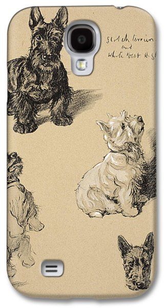 Black Dog Galaxy S4 Cases - Scotch Terrier And White West Galaxy S4 Case by Cecil Charles Windsor Aldin
