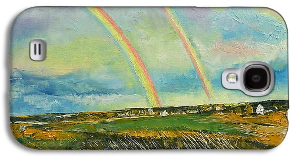 Scotland Paintings Galaxy S4 Cases - Scotland Double Rainbow Galaxy S4 Case by Michael Creese