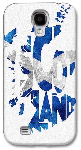 Scotland Galaxy S4 Cases - Scotland Typographic Map Flag Galaxy S4 Case by Ayse Deniz