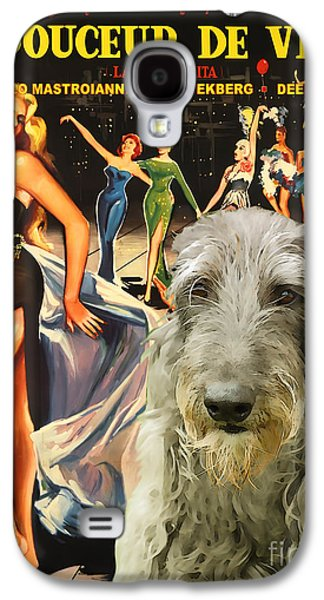 Scottish Dog Paintings Galaxy S4 Cases - Scottish Deerhound Art - La Dolce Vita Movie Poster Galaxy S4 Case by Sandra Sij