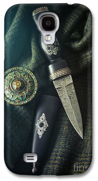 Knight Photographs Galaxy S4 Cases - Scottish dirk and celtic pin brooch on plaid Galaxy S4 Case by Sandra Cunningham