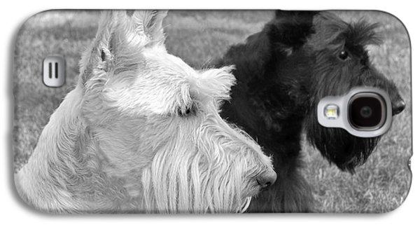 Scottish Dog Galaxy S4 Cases - Scottish Terrier Dogs Black and White Galaxy S4 Case by Jennie Marie Schell