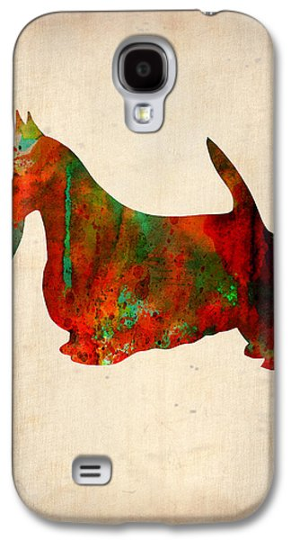 Scottish Dog Galaxy S4 Cases - Scottish Terrier Watercolor 2 Galaxy S4 Case by Naxart Studio