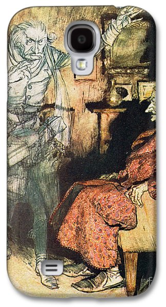 Scrooge And The Ghost Of Marley Galaxy S4 Case by Arthur Rackham
