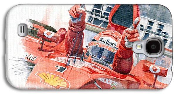 Watercolor Paintings Galaxy S4 Cases - Scuderia Ferrari Marlboro F 2001 Ferrari 050 M Schumacher  Galaxy S4 Case by Yuriy  Shevchuk