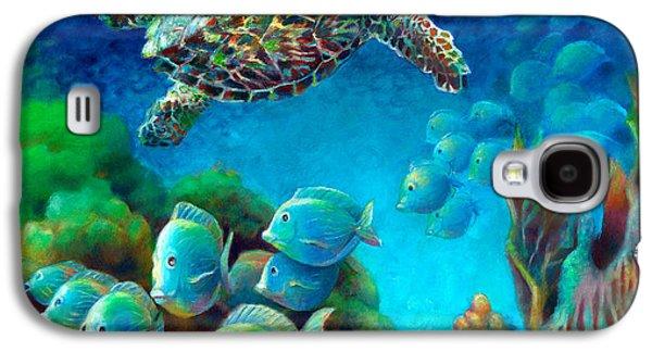 Brain Paintings Galaxy S4 Cases - Sea eScape III - Hawksbill Gemstone Turtle Galaxy S4 Case by Nancy Tilles