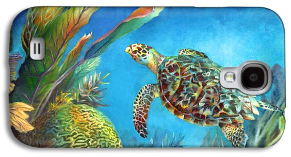 Brain Paintings Galaxy S4 Cases - Sea eScape IV - Hawksbill Turtle Flying Free Galaxy S4 Case by Nancy Tilles