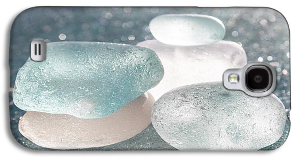 Old Glass Galaxy S4 Cases - Sea Glass Aqua Shimmer Galaxy S4 Case by Barbara McMahon