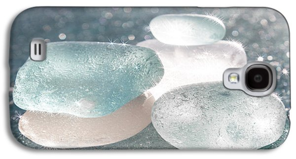 Star Glass Galaxy S4 Cases - Sea Glass Aqua Sparkle Galaxy S4 Case by Barbara McMahon