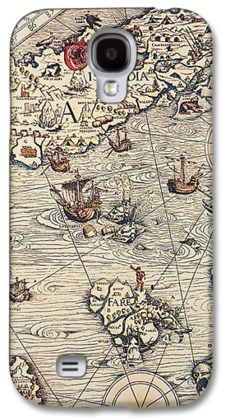 Map Drawings Galaxy S4 Cases - Sea Map by Olaus Magnus Galaxy S4 Case by Olaus Magnus