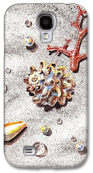 Interior Still Life Paintings Galaxy S4 Cases - Sea Shells Pearls Water Drops And Coral Galaxy S4 Case by Irina Sztukowski