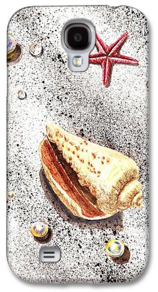 Interior Still Life Paintings Galaxy S4 Cases - Sea Shells Pearls Water Drops and Seastar  Galaxy S4 Case by Irina Sztukowski