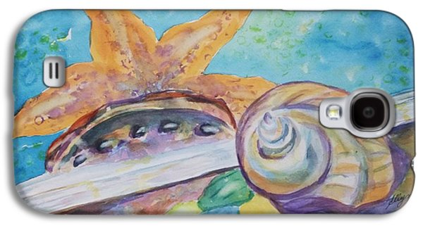 Nature Abstract Tapestries - Textiles Galaxy S4 Cases - Sea Star-Abalone-Snail Shell Galaxy S4 Case by Ellen Levinson