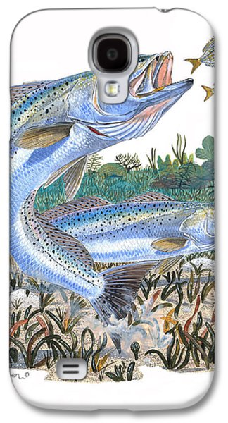 Trout Paintings Galaxy S4 Cases - Sea Trout Galaxy S4 Case by Carey Chen