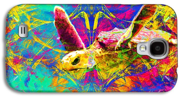 Reptiles Digital Galaxy S4 Cases - Sea Turtle In Abstract v2 Galaxy S4 Case by Wingsdomain Art and Photography