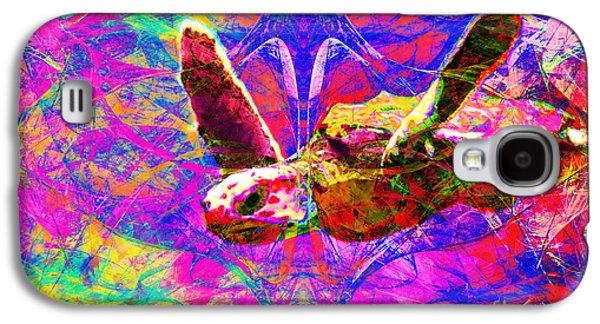 Reptiles Digital Galaxy S4 Cases - Sea Turtle In Abstract v3 Galaxy S4 Case by Wingsdomain Art and Photography