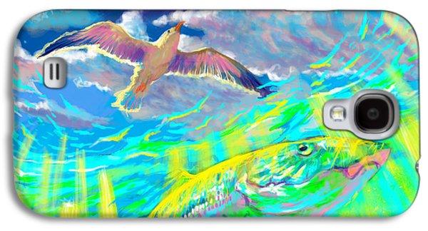Shark Digital Art Galaxy S4 Cases - Seagull Over The Flats  Galaxy S4 Case by Yusniel Santos