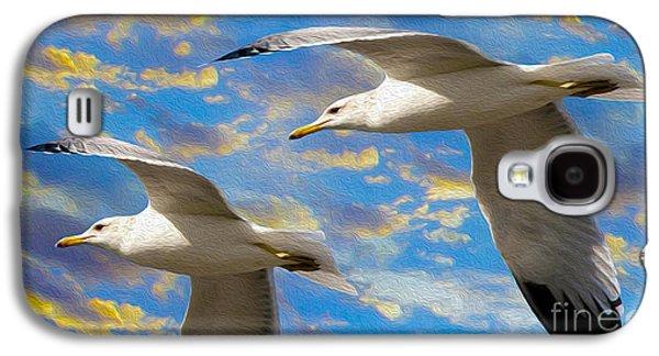 Free Mixed Media Galaxy S4 Cases - Seagulls in Flight Galaxy S4 Case by Jon Neidert