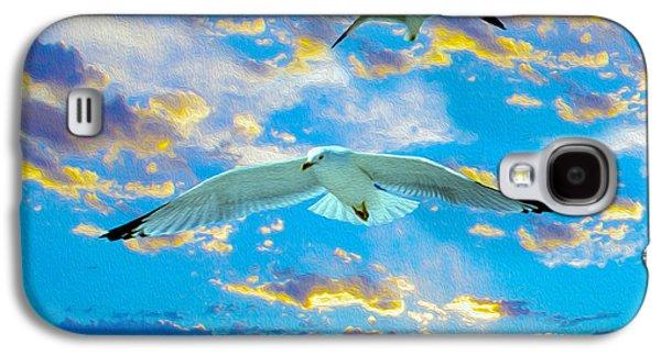 Free Mixed Media Galaxy S4 Cases - Seagulls  Galaxy S4 Case by Jon Neidert