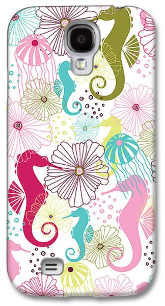 Drawing Galaxy S4 Cases - Seahorse Flora Galaxy S4 Case by Susan Claire