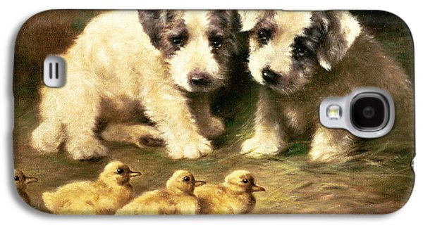 Breed Of Dog Galaxy S4 Cases - Sealyham Puppies and Ducklings Galaxy S4 Case by Lilian Cheviot