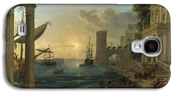 Claude Paintings Galaxy S4 Cases - Seaport with the Embarkation of the Queen of Sheba Galaxy S4 Case by Claude Lorrain