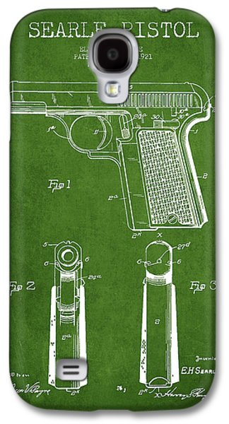 Searle Pistol Patent Drawing From 1921 - Green Galaxy S4 Case by Aged Pixel