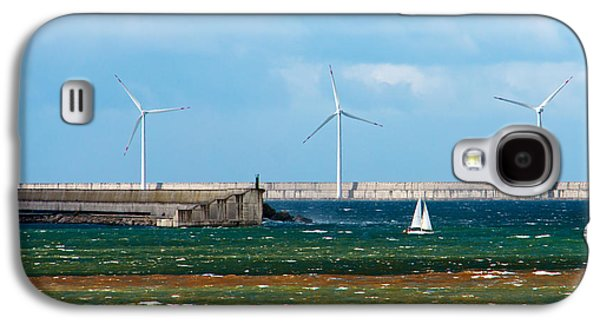 Tempest Galaxy S4 Cases - Seascape with a sailboat and a wind farm on rough sea Galaxy S4 Case by Mikel Martinez de Osaba