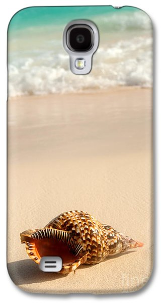 Ocean Shore Galaxy S4 Cases - Seashell and ocean wave Galaxy S4 Case by Elena Elisseeva