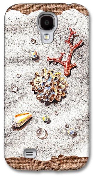 Interior Still Life Paintings Galaxy S4 Cases - Seashells Coral Pearls and Water  Drops Galaxy S4 Case by Irina Sztukowski