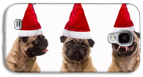 Postage Galaxy S4 Cases - Seasons Greetings Christmas Caroling Pug Dogs Wearing Santa Claus Hats Galaxy S4 Case by Edward Fielding