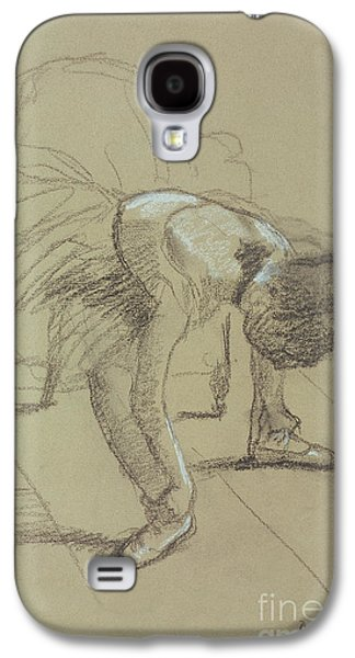 Ballet Dancers Pastels Galaxy S4 Cases - Seated Dancer Adjusting her Shoes Galaxy S4 Case by Edgar Degas