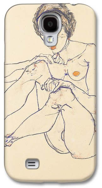 Sex Drawings Galaxy S4 Cases - Seated female nude Galaxy S4 Case by Egon Schiele