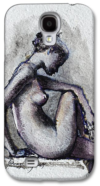 Figures Mixed Media Galaxy S4 Cases - Seated Nude Galaxy S4 Case by Dorina  Costras