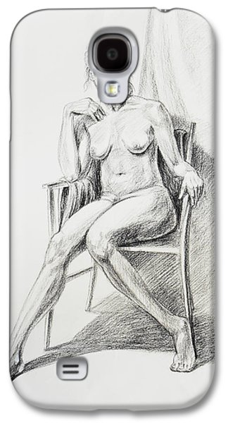 Abstract Forms Drawings Galaxy S4 Cases - Seated Nude Model Study Galaxy S4 Case by Irina Sztukowski