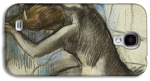 Impressionism Pastels Galaxy S4 Cases - Seated Nude Woman Brushing her Hair Galaxy S4 Case by Edgar Degas