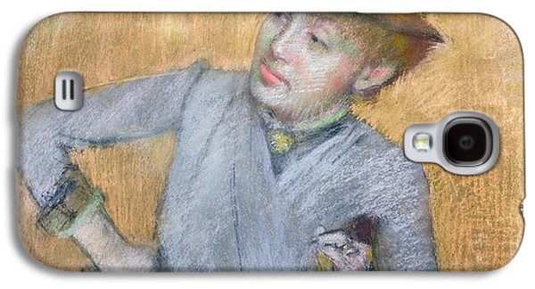 Orange Pastels Galaxy S4 Cases - Seated Woman Galaxy S4 Case by Edgar Degas