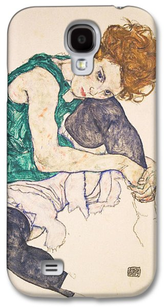 Adele Paintings Galaxy S4 Cases - Seated Woman with Legs Drawn Up. Adele Herms Galaxy S4 Case by Egon Schiele