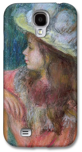 Girl Pastels Galaxy S4 Cases - Seated Young Girl in a White Hat Galaxy S4 Case by Pierre Auguste Renoir