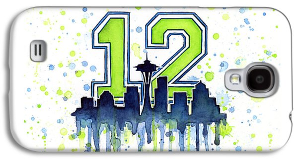 Skylines Mixed Media Galaxy S4 Cases - Seattle Seahawks 12th Man Art Galaxy S4 Case by Olga Shvartsur